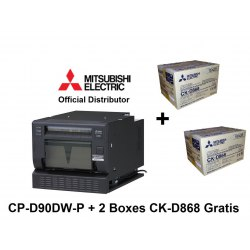 Drukarka Mitsubishi CP-D90DW P (POST CARD) + 2 kartony papieru CK-D868