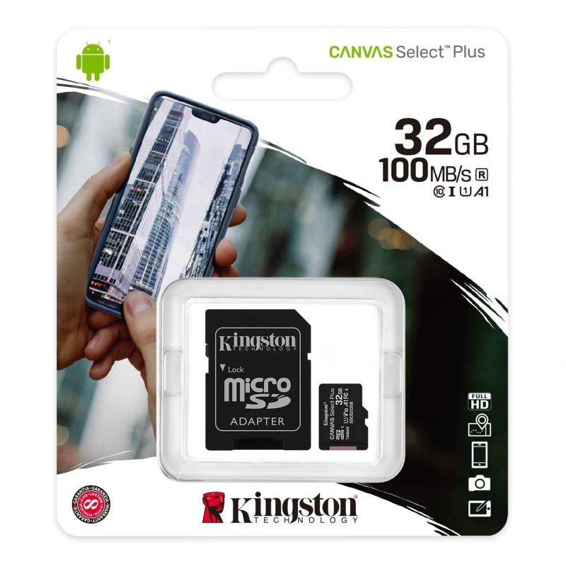 Micro SD 32 GB Kingston UHS-I 100 mb/s